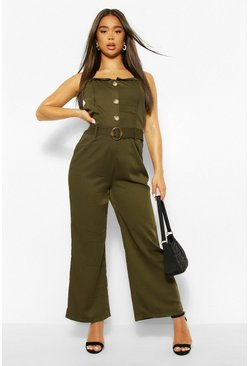 Khaki Button Through Strappy Belted Wide Leg Jumpsuit