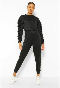 Black Ruched Sleeve Loopback Sweat Jumpsuit