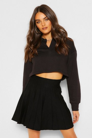 Black Pleated Knit Tennis Skirt