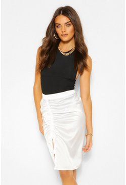 Ivory white Satin Ruched Ruffle Midi Skirt