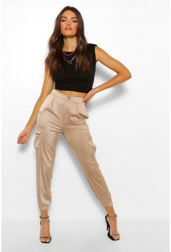 Taupe Satin Cargo Pocket Luxe Jogger
