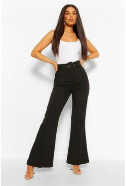 Black Self Fabric Belted Kick Flare Tailored Trouser