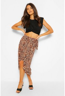 Tan brown Leopard Print Ruffle Wrap Midi Skirt