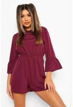 Berry Woven Flared Cuff Sleeve Smock Playsuit