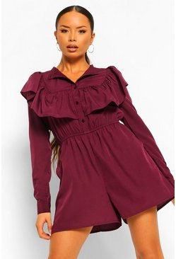 Berry red Woven Ruffle Front Long Sleeve Smock Playsuit