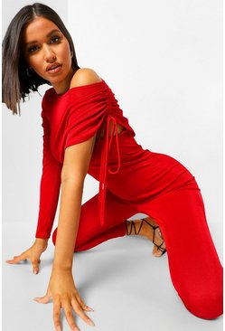 Red Drape Shoulder Ruched Side Asymmetric Jumpsuit