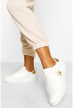 White Glitter Star Detail Flat Trainers