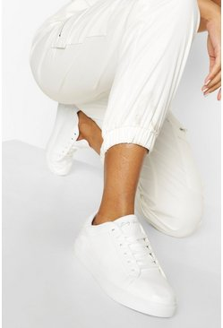 White Baby Girl Flat Trainers