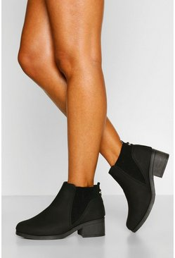 Black Wide Fit Low Block Heel Chelsea Boots