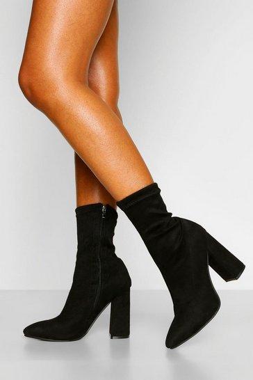 Black Block Heel Pointed Toe Sock Boots