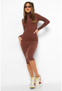 Chocolate brown Premium Ribbed High Neck Midi Dress