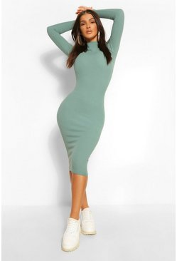 Premium Ribbed High Neck Midi Dress, Green Серый