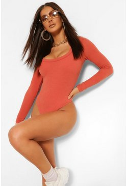 Rust Premium Ribbed Scoop Neck Long Sleeve Bodysuit