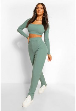 Green Premium Ribbed Split Front Leggings