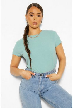 Green Premium Ribbed Crew Neck Boxy Top