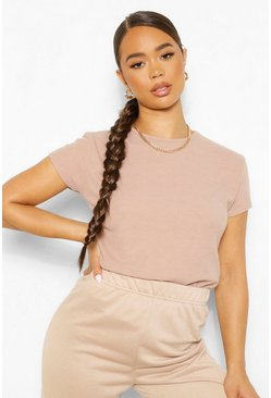 Premium Ribbed Crew Neck Boxy Top, Stone beige