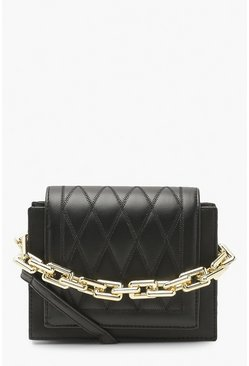 Black Diamond Quilt Chain Structured Cross Body Bag