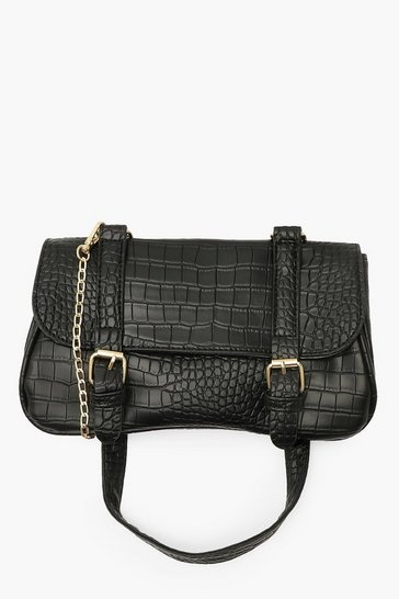 Black Double Buckle Saddle Cross Body Bag