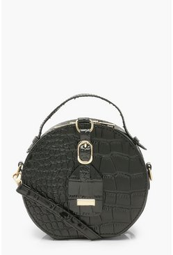 Black Croc Buckle And Tag Detail Cross Body Bag
