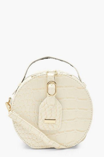 Cream white Croc Buckle And Tag Detail Cross Body Bag