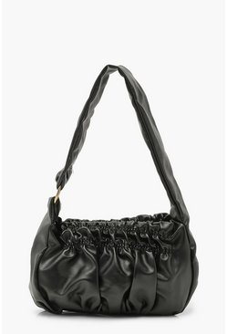 Black Slouchy Rouched Under Arm Bag