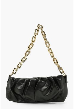 Black Pu Extreme Rouched Chunky Chain Underarm Bag