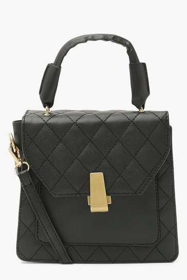 Black Quilt Structured Handle Cross Body Bag