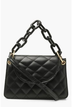 Black Quilted Matte Chain Detail Cross Body Bag