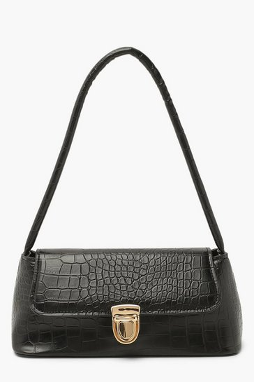 Black Croc Push Lock Detail Mini Under Arm Bag