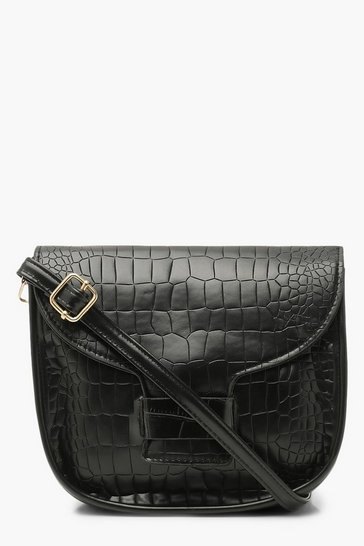 Black Croc Rounded Cross Body Bag