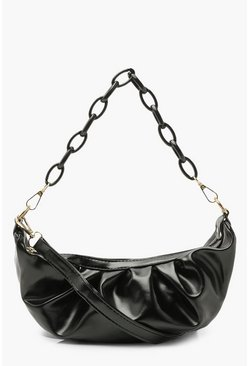 Black Chain Detail Rouched Under Arm Bag