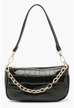 Black Croc Chain Detail Under Arm Bag