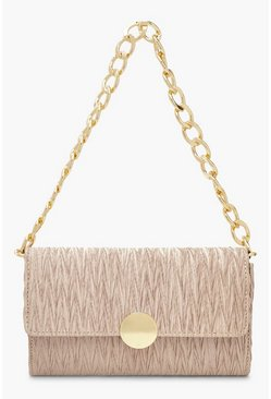Cream white Pleat Structured Chunky Chain Underarm Bag
