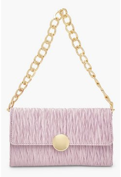Lilac purple Pleat Structured Chunky Chain Underarm Bag