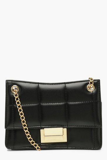 Black Quilted Lock Cross Body Bag