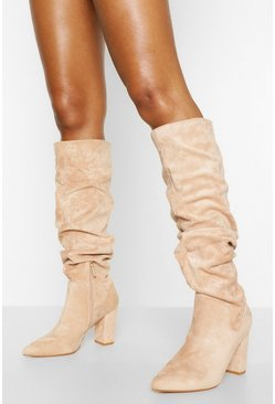 Slouched Pointed Toe Block Heel Knee High Boots, Beige