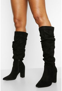 Black Slouched Pointed Toe Block Heel Knee High Boots