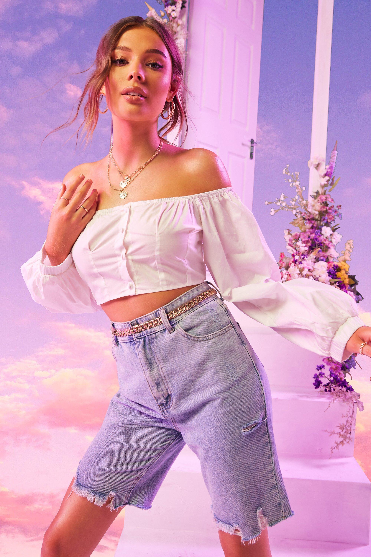 WOMENS White Woven Button Front Balloon Sleeve Bardot Top