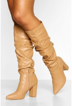 Tan brown Slouched Block Heel Knee High Boots