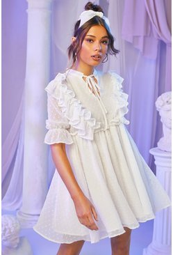 Ivory white Dobby Chiffon Tie Front Frill Detail Dress