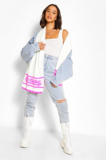 Cream white 90's Baby Slogan Scarf
