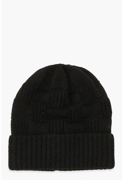 Black Knitted Weave Beanie