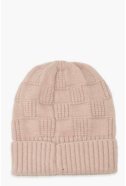 Lilac Knitted Weave Beanie