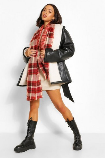 Red Check Reverse Fringe Edge Scarf