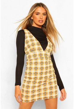Long Sleeve 2 In 1 Check Pinafore Dress, Mustard amarillo
