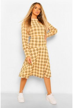 Mustard yellow Check Drop Hem Midi Skirt