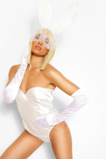 White Halloween Satin Sweetheart Corset Bodysuit