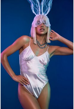 White Halloween Strappy Satin Bodysuit