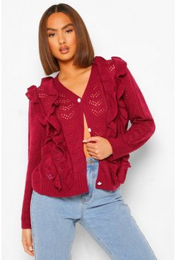 Ruffle Detail Pearl Button Pointelle Cardigan, Berry rojo