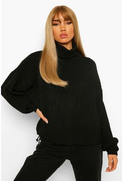 Black Roll Neck Ruched Side Chunky Jumper